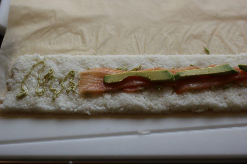 Feuerplatten-Sushi in der Vorbereitung